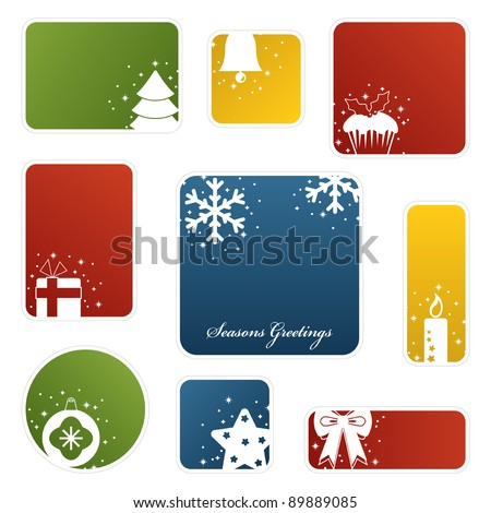 seasonal christmas labels with motifs, isolated on white
