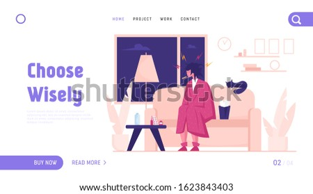 Seasonal Disease and Illness Website Landing Page. Sick Woman Having Cold. Ill Girl with Thermometer in Mouth Sitting at Home with Medicine on Table Web Page Banner. Cartoon Flat Vector Illustration