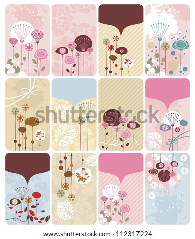 Seasonal gift cards backgrounds set with spaces for text