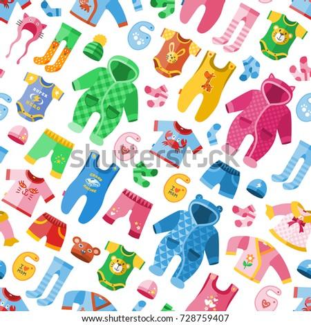 Seasonal infant clothes for kids babyish fashion infantile puerile cloth vector illustration seamless pattern background