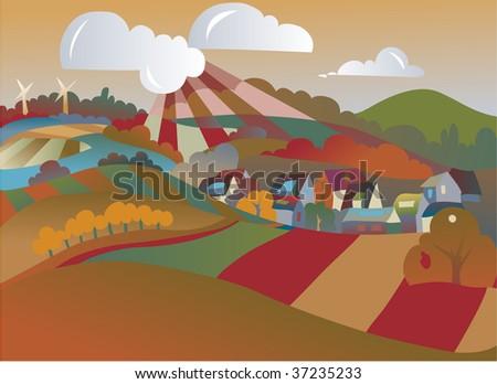 seasonal landscape illustration