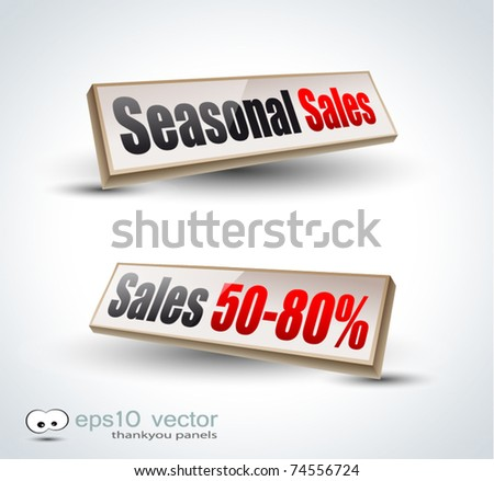 Seasonal Sales Box Panel: 3D icons with shadows
