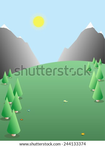 Seasonal sunny day landscape nature with trees background illustration