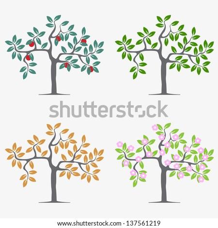 seasonal trees vector set