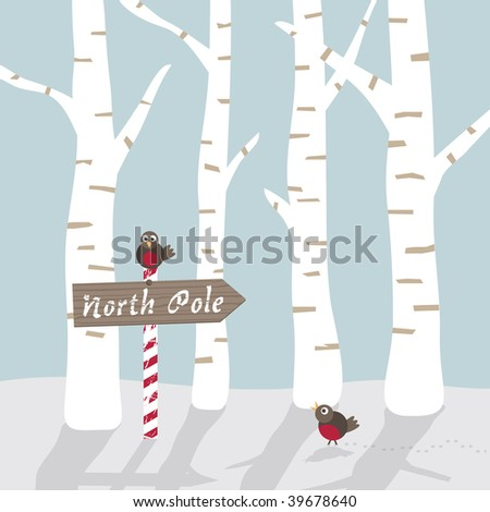 seasonal winter landscape greeting card with north pole sign and robins