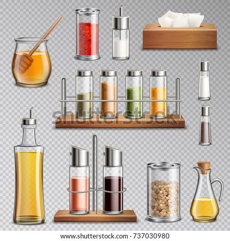 Shutterstock Seasoning spices herbs kitchen racks cooking oil carafe  sugar dispenser and honey jar realistic set transparent vector illustration