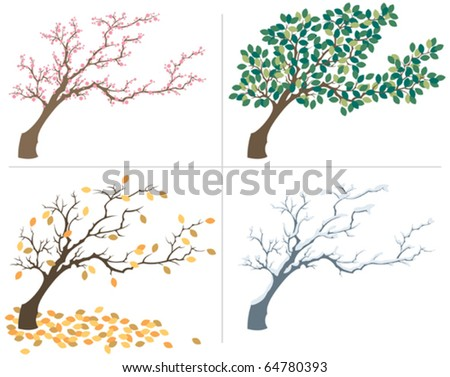 Seasons: A tree, shown during the four seasons. No transparency and gradients used.