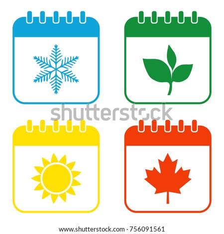 Seasons calendar color icons set. Four seasons.