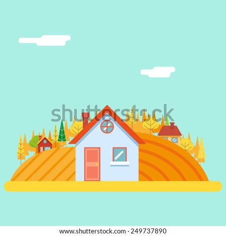 Seasons Change Autumn Village Hills Field Landscape Icon Website Greeting Card Flat Design Vector Illustration