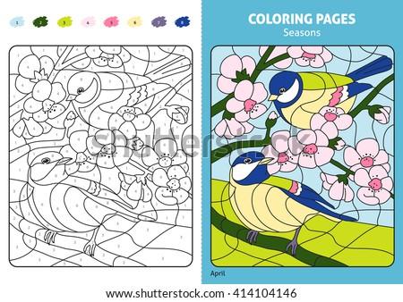 Number Names Worksheets printable numbers for kids : Seasons Coloring Page For Kids, April Month.Printable Design ...