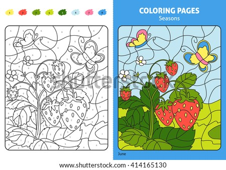 Seasons Coloring Page For Kids June Month Printable Design Book Puzzle