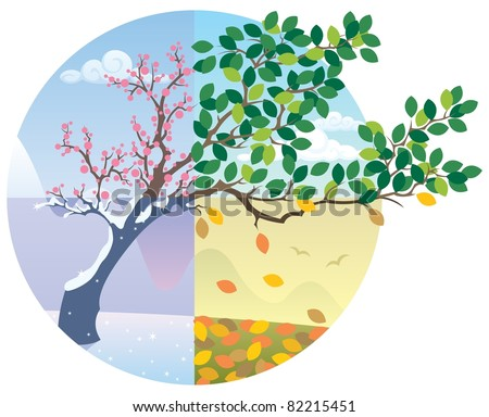 Seasons Cycle: Cartoon illustration representing the cycle of the four seasons. No transparency used. Basic (linear) gradients.