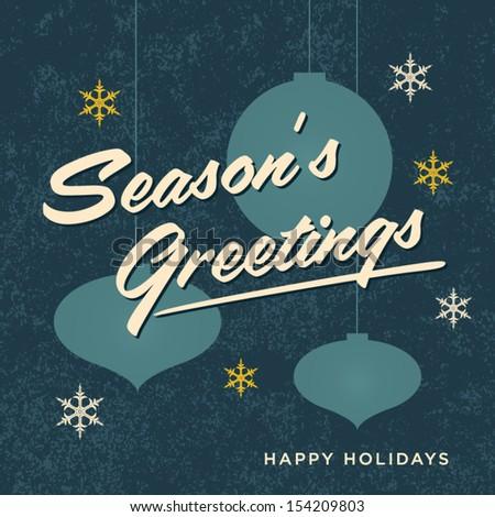 Seasons greetings card retro vintage