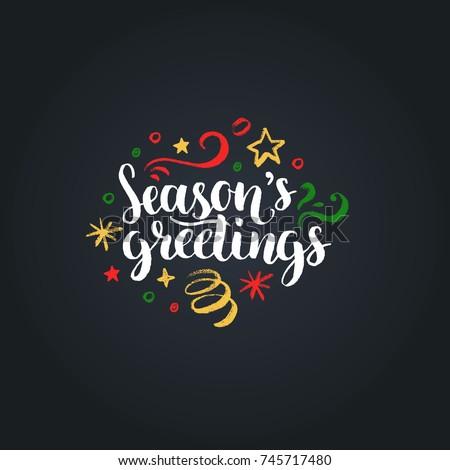 seasons greetings lettering on...