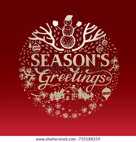 Seasons greetings lettering vector design for greeting cards and poster. Merry Christmas hand lettering on a red background. Design template celebration. Vector illustration.