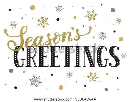 Seasons greetings postcard template. Modern New Year lettering with snowflakes isolated on white background. Christmas card concept.