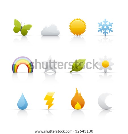 seasons icon set for multiple