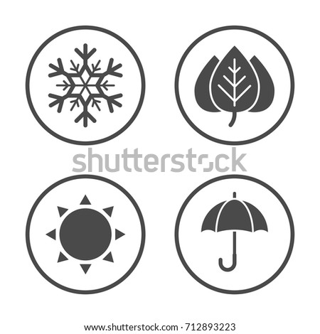Seasons icon vector design. Simple rounded weather icons set.