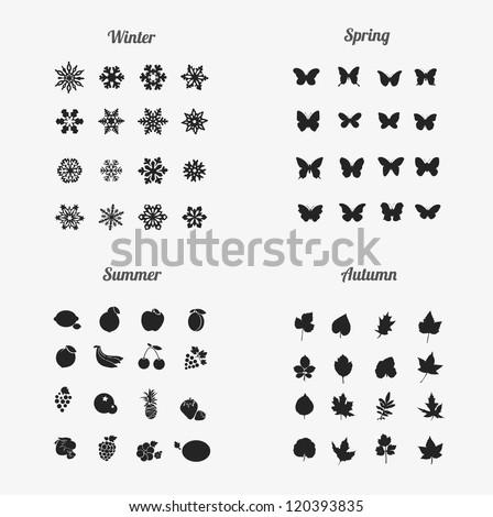 seasons icons (winter , Spring , Summer ,Autumn)