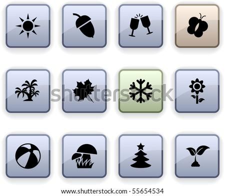 Seasons set of square dim icons. - stock vector