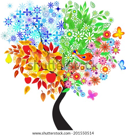 Seasons Tree, Spring, Fall, Winter, and Summer Tree, Tree Vector, Flower Vector