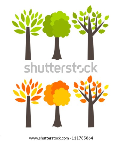 Seasons trees - spring and autumn. Vector illustration