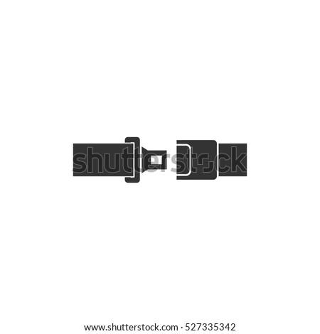 Seat belt icon flat. Illustration isolated vector sign symbol