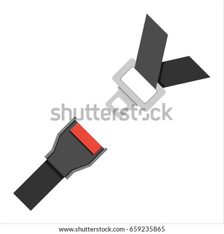 Seat Belt icon isolated on white background. Safety of movement on car, airplane. Vector illustration flat design. Protection driver and passengers.