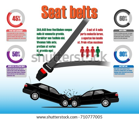 Seat belt statistics. Infographics vector template. Traffic crash illustration
