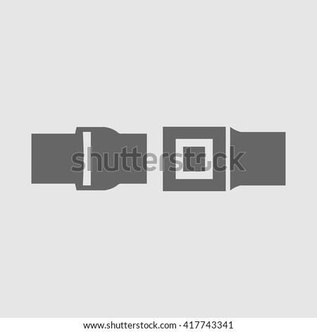 Seat belt vector icon EPS 10. Simple isolated security symbol. Drive safely logo.