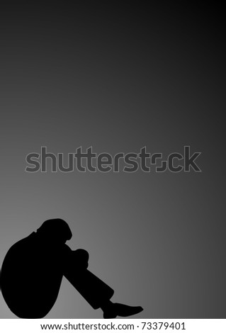 Seated Man In A State Of Depression On A Black Background Stock ...