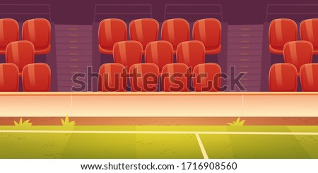 Seats on sport stadium with soccer, football or basketball field. Vector cartoon illustration of empty fan tribune with rows of plastic red chairs and green grass on court Stock photo ©
