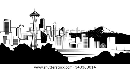 Seattle Black and White Skyline