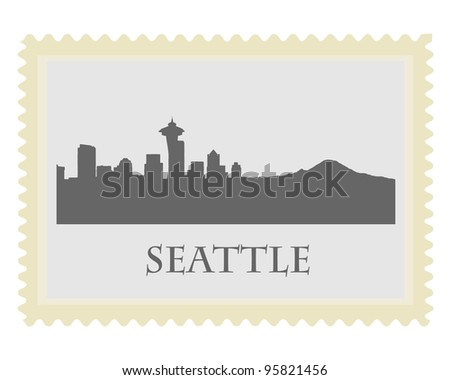 Seattle  city high-rise buildings skyline stamp