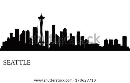 seattle skyline vector download free vector art stock graphics rh vecteezy com Skyline Silhouette Vector seattle skyline silhouette vector