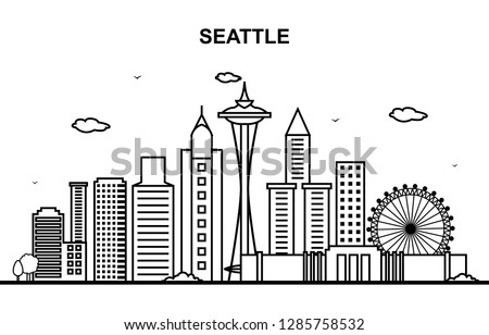 Seattle City Tour Cityscape Skyline Line Outline Illustration