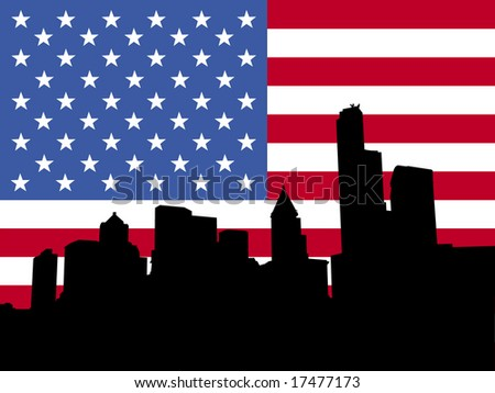 Seattle skyline and American flag illustration