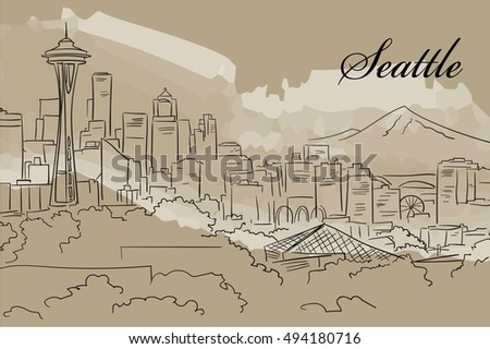 Seattle Skyline hand drown on water color background
