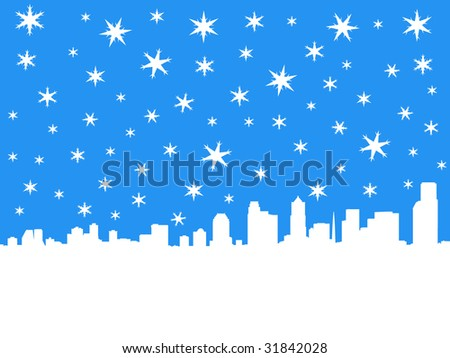 Seattle skyline in winter with falling snow illustration