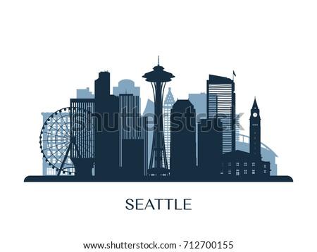 seattle skyline  monochrome