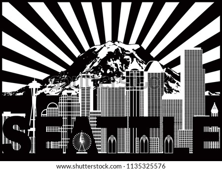 Seattle Washington Outline Silhouette with City Skyline with Mount Rainier Sun Rays Black Isolated on White Background vector Illustration