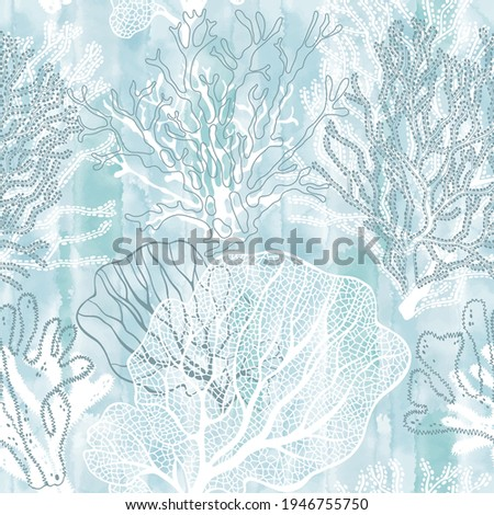 Seaweed. Seamless vector pattern with underwater plants on blue watercolor background. Abstract floral texture. Perfect for design templates, wallpaper, wrapping, fabric and textile.