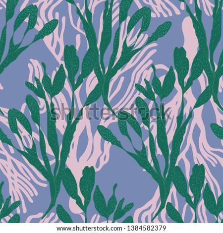 Seaweed underwater floral seamless vector pattern Сток-фото ©
