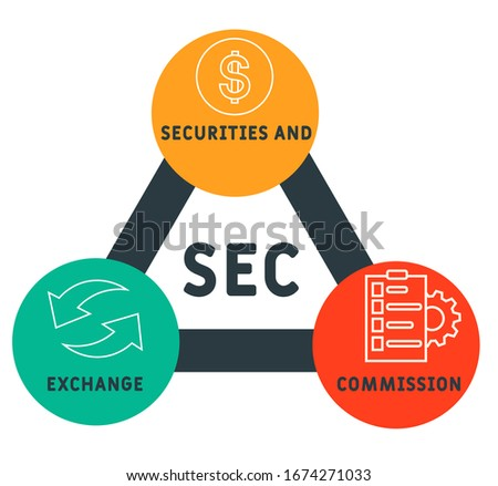 SEC - Securities and Exchange Commission acronym, business concept background.