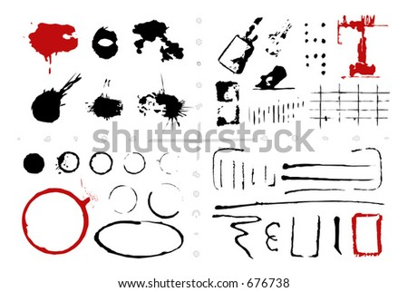 Second designer's collection of grungy stains circles etc Over 50 editable elements Vectors 23