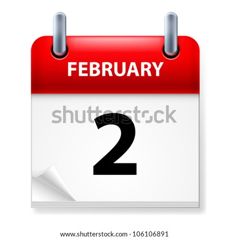 Second February in Calendar icon on white background