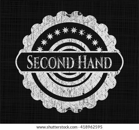 Second Hand chalk emblem, retro style, chalk or chalkboard texture