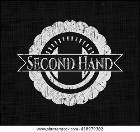 Second Hand chalkboard emblem on black board