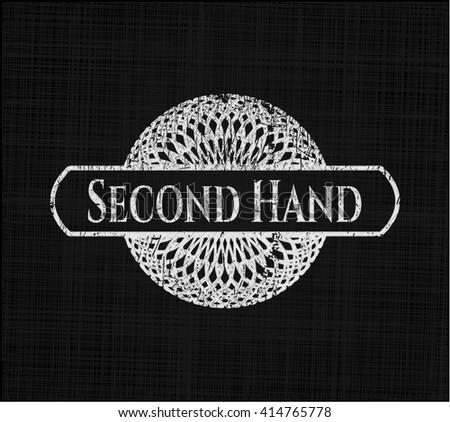 Second Hand chalkboard emblem written on a blackboard
