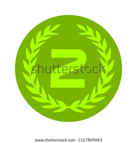 Second place award icon. Prize for winner symbol.
